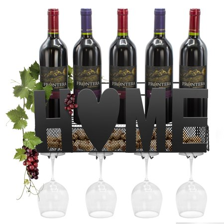 "Sorbus Wine Bottle Stemware Glass Rack Cork Holder Wall Mounted - Holds Up To 5 Wine Bottles, 4 Stemware Glasses & Corks - Elegant Storage for Kitchen, Dining Room, Bar, or Wine Cellar - ""Home"" Design 2 Bottle Wine Holder"