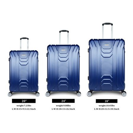 b0e07010cd53 Traveler Space Trophy 3PCs ABS Hardside Expandable 360 Spinner Luggage Set  20/24/28