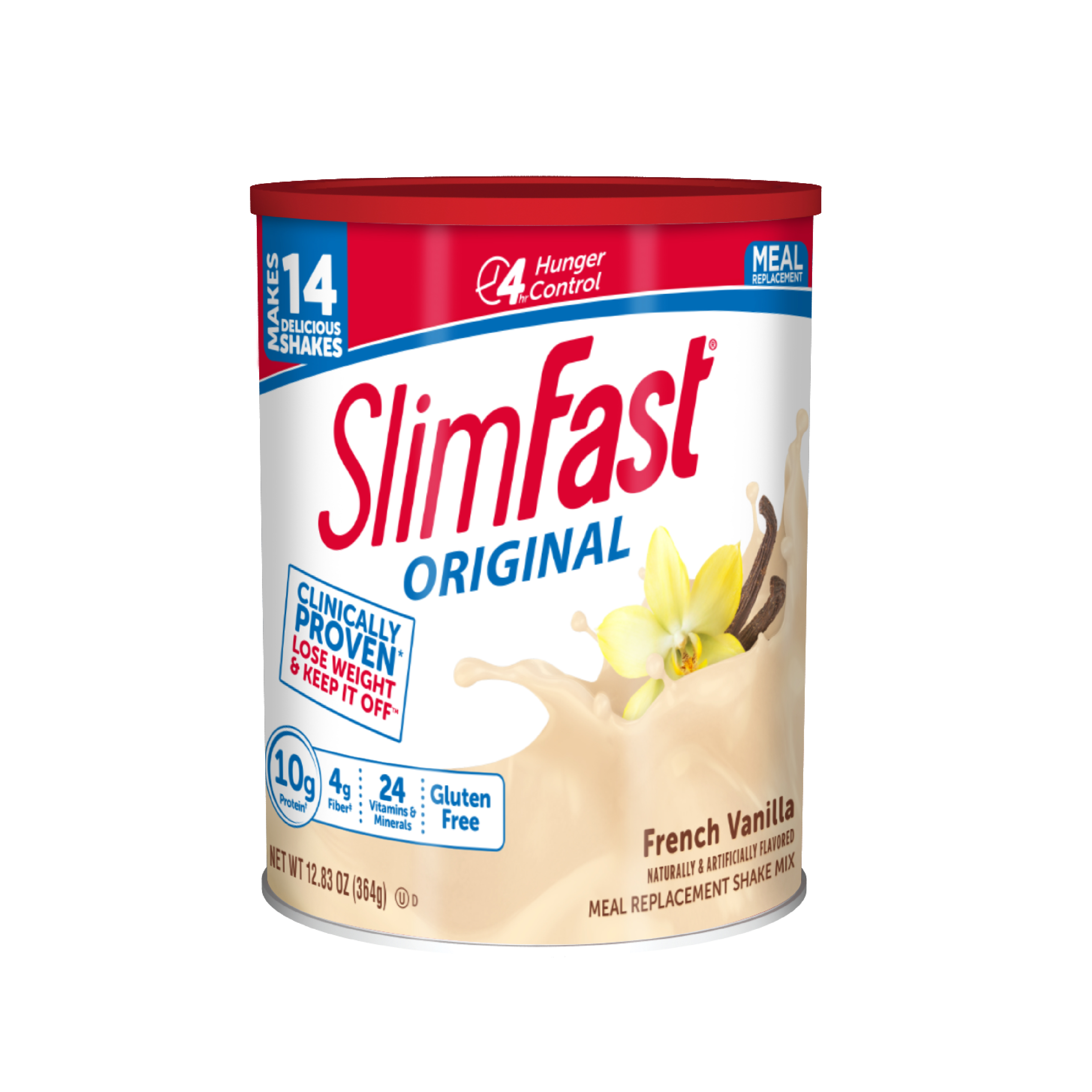 SlimFast Original Meal Replacement Shake Mix Powder, French Vanilla, 12.83oz, 14 servings