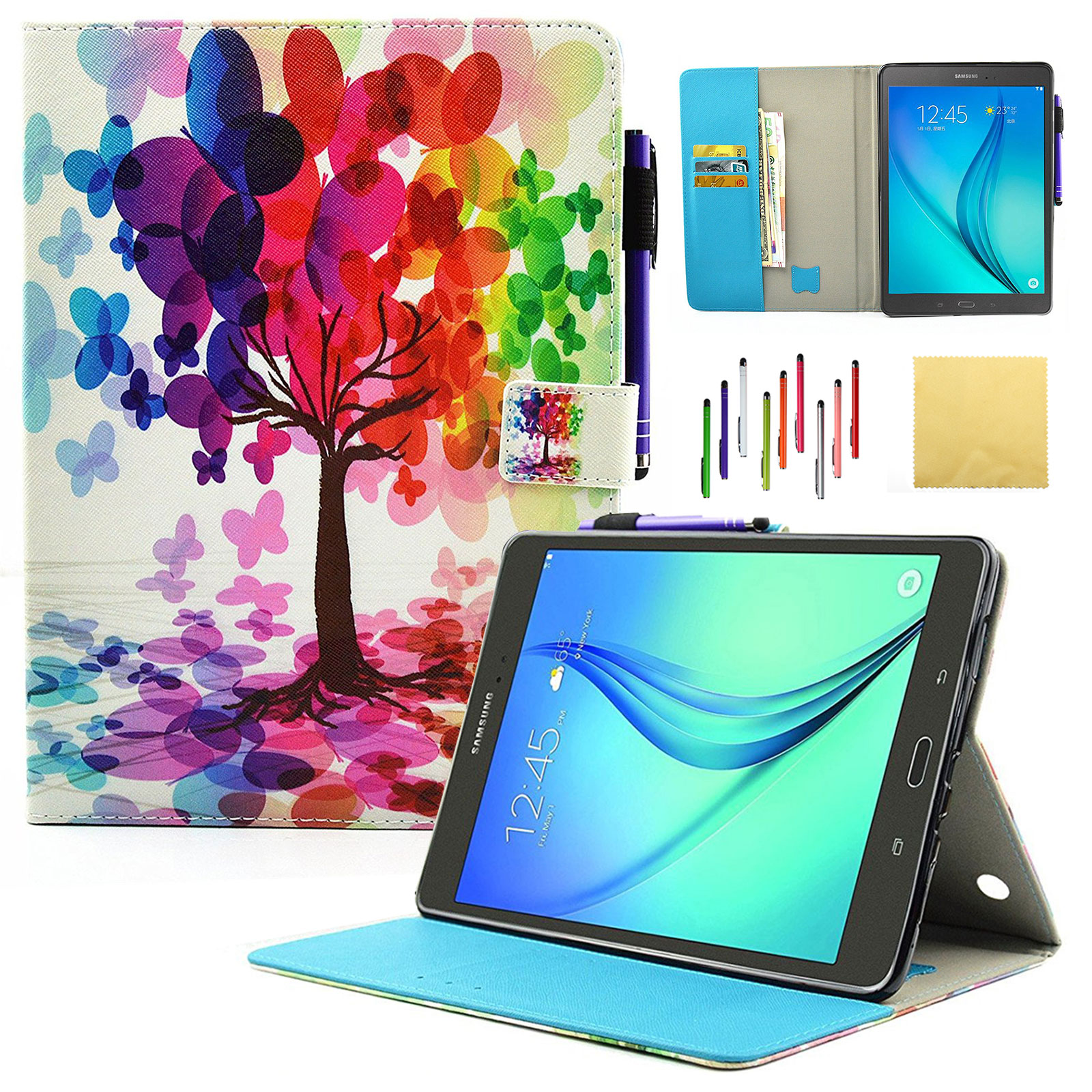 "Galaxy Tab A 9.7"" Case, SM-T550/SM-P550 Case, Goodest Smart PU Leather Folio Stand Cover with Auto Wake/Sleep Wallet Case for Samsung Galaxy Tab A 9.7-inch Tablet with S Pen, Butterfly Tree"