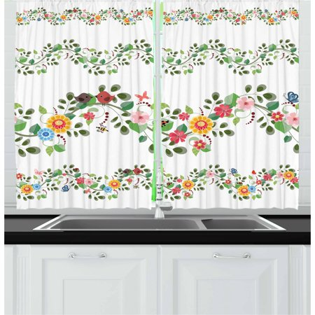 Green Flower Curtains 2 Panels Set, Horizontal Foliage Pattern Ornamental Abstract Design Vintage Style Romance, Window Drapes for Living Room Bedroom, 55W X 39L Inches, Multicolor, by Ambesonne (Horizontal Window Curtain)