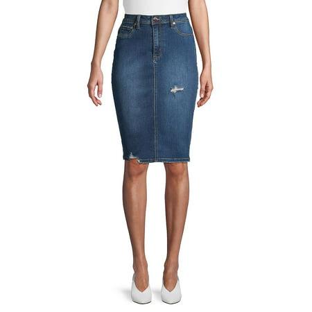 2898c25c47 LA LA Anthony - Distressed High-Waist Denim Pencil Skirt - Walmart.com