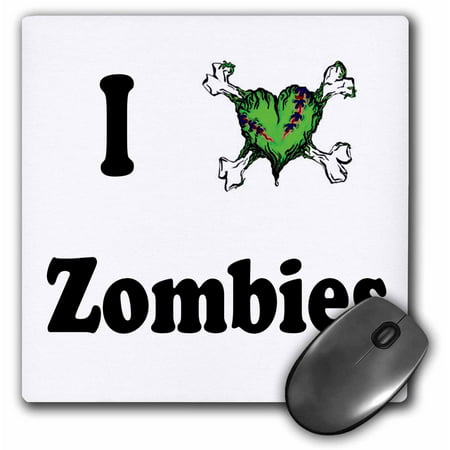 3dRose I love zombies, Mouse Pad, 8 by 8 inches