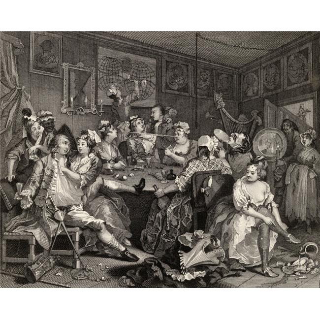 The Rakes Progress Tavern Scene From the Original Picture by Hogarth From the Poster Print, 32 x 26 - image 1 de 1