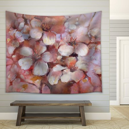 wall26 - Almonds Blossom Handmade Oil Painting on Canvas - Fabric Wall Tapestry Home Decor - 68x80 inches