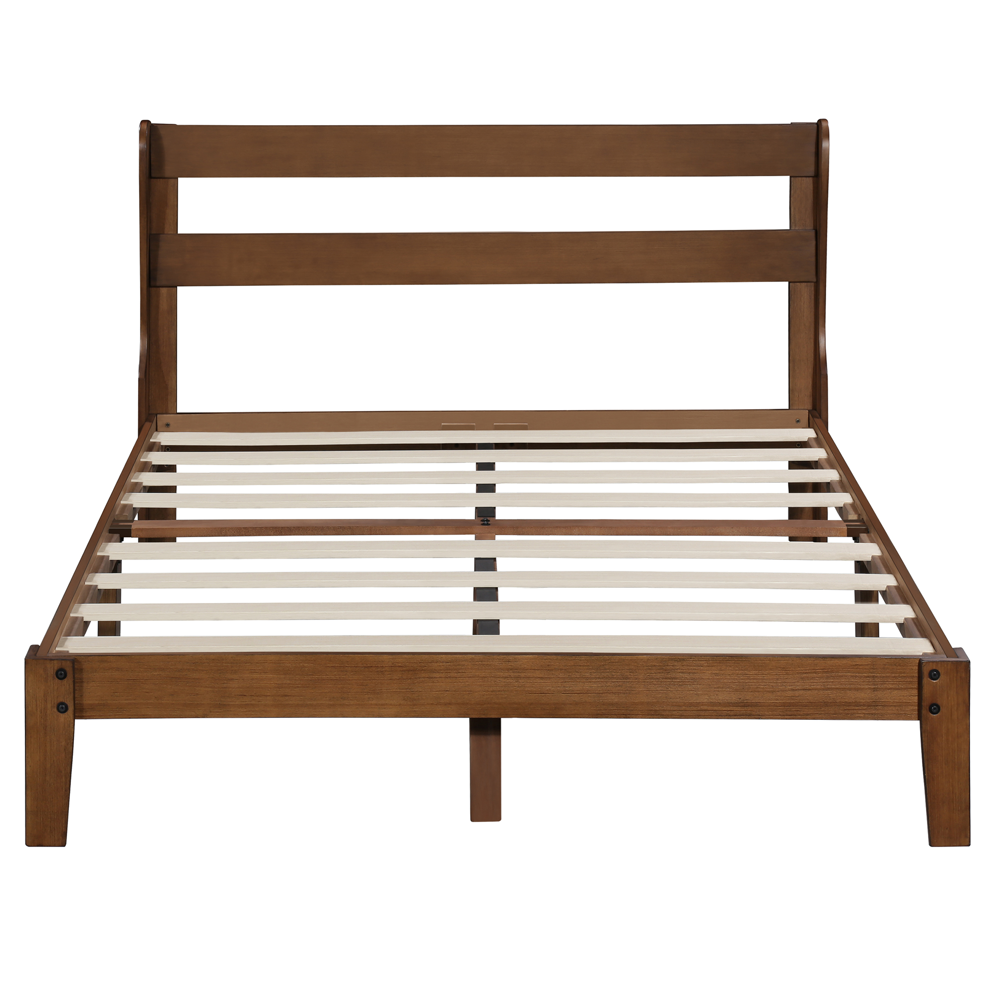 GranRest 12 inch Classic Wooden Platform Bed with Headboard, Full