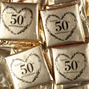 50th Anniversary Candy 2lb (approx 128 pcs) Gold Foil Wrapped Chocolate Squares