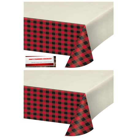 2 Pack - Buffalo Plaid Red Lumberjack Plastic Table Cover 54 x 102 inches (Plus Party Planning Checklist by Mikes Super Store), 2 Pack - Buffalo.., By Plaid Party