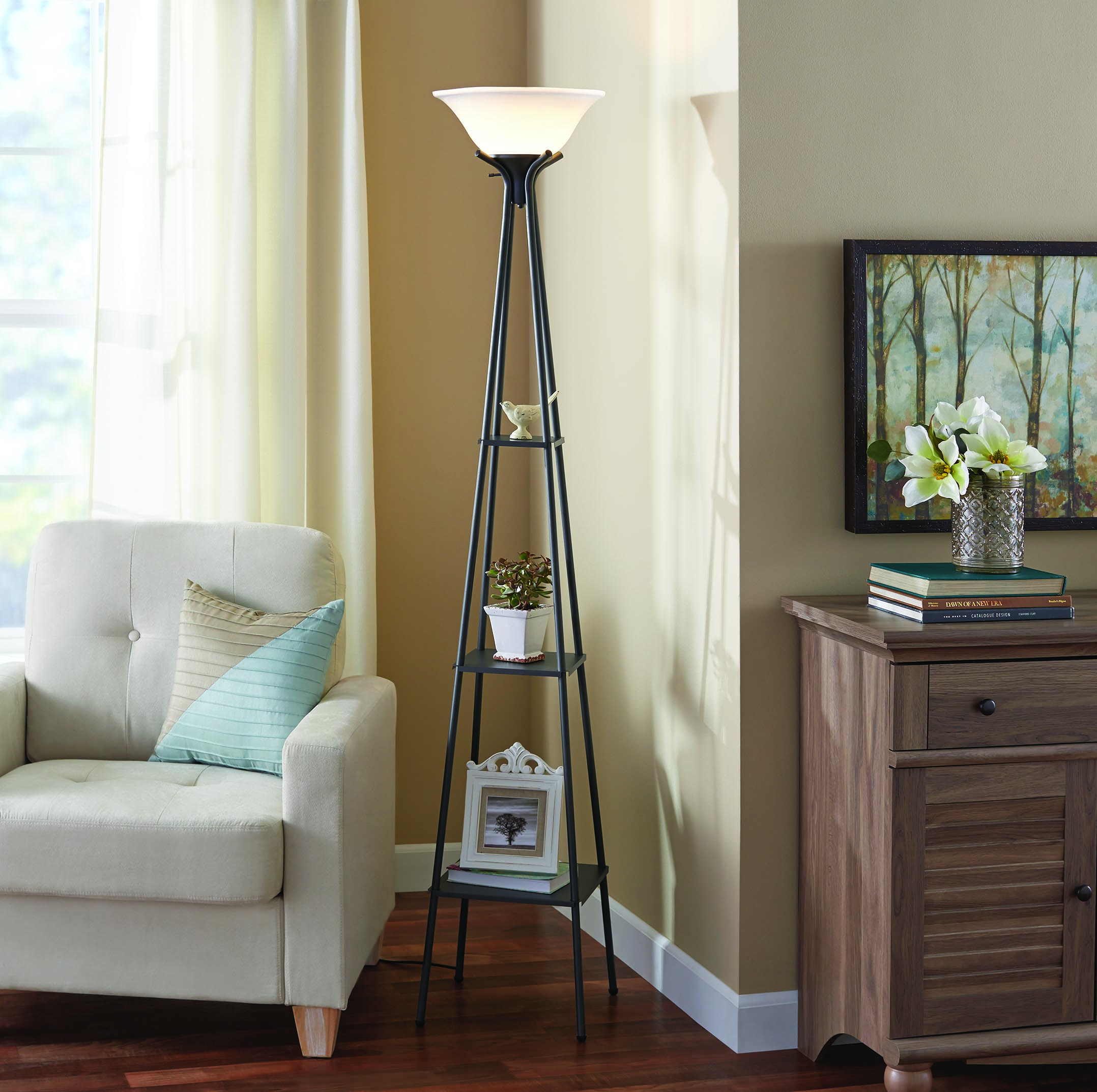 Mainstays 69 Etagere Floor Lamp Charcoal Finish CFL Bulb Included