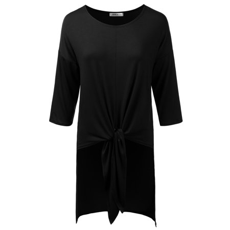Doublju Womens 3/4 Sleeve Loose Fit High-Low Tie-Front Tunic Top With Plus Size BLACK