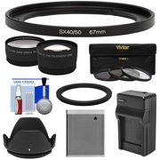 Precision Design FA-DC67A Adapter Ring (67mm) with Battery + Charger + Tele + Wide Lens Kit for Canon PowerShot SX530 + SX540 HS Cameras
