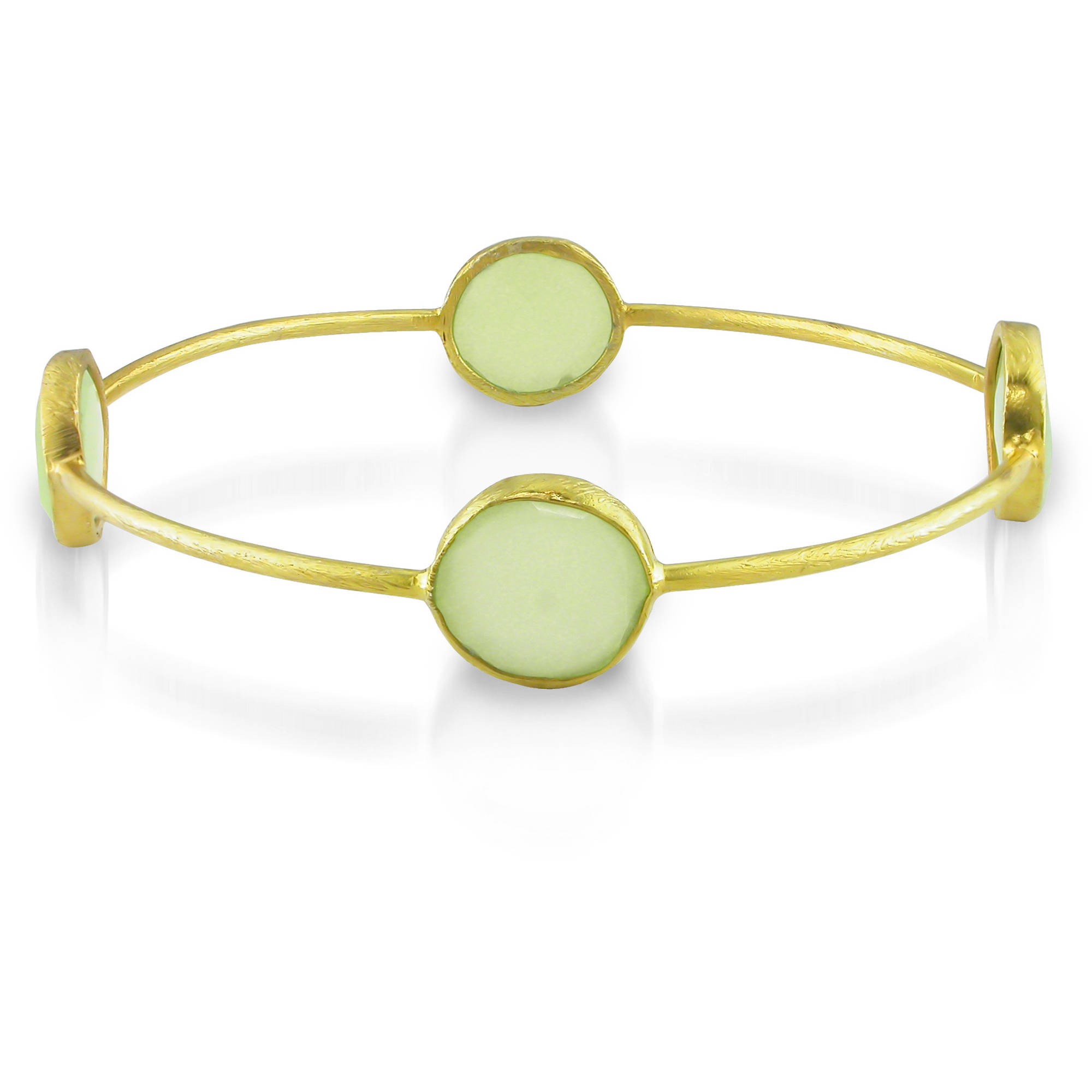 "Tangelo 16 Carat T.G.W. Green Chalcedony Brass Bangle, 8"" by Generic"