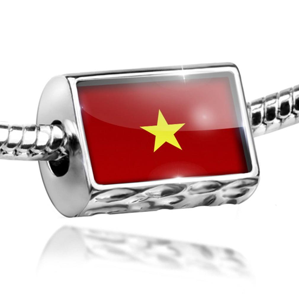 Bead Vietnam Flag Charm Fits All European Bracelets by NEONBLOND