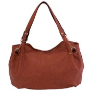 Pebble Grain Faux Leather Handbag in Brown