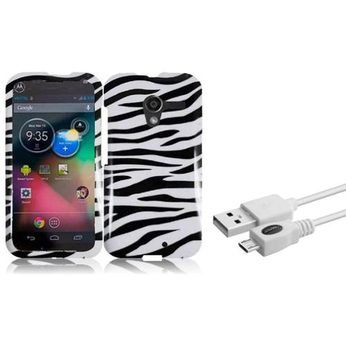 Insten For Motorola Moto X Design Hard Case Zebra (with USB Cable)