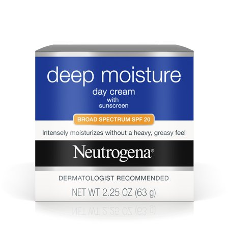Neutrogena Deep Moisture Face Cream SPF 20 Sunscreen, Glycerin 2.25 (Best All Day Sun Cream)