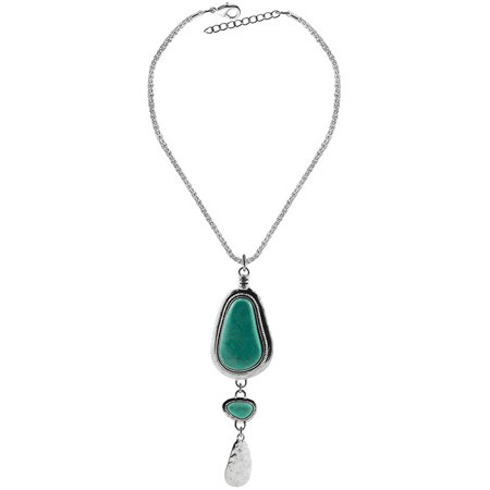 Elegant Exquisite Retro Turquoise Pendant Necklace Antique Silver Plated Luxury Jewelry for Women