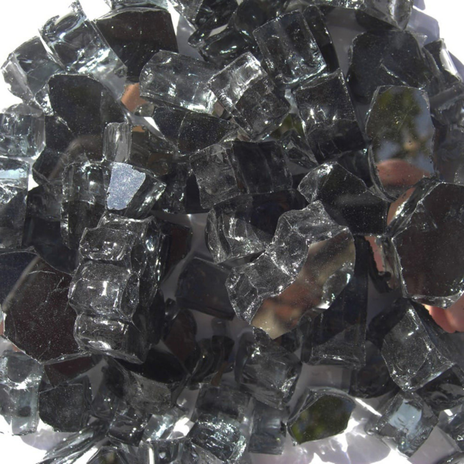 Tretco 0.5 in. Black Reflective Fire Glass Crystals