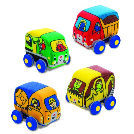 Melissa & Doug Pull-Back Construction Vehicles - Soft Baby Toy Play Set of 4 - Construction Set Toys