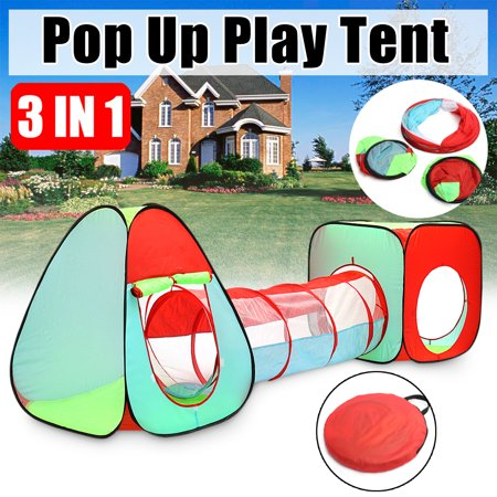 Kids Play Tent, Foldable 3 In 1 Indoor Outdoor Safty Kids Pop Up Play House Tents Tunnel And Ball Pit Children Baby Playhouse Kids Gifts Toy Tents ()