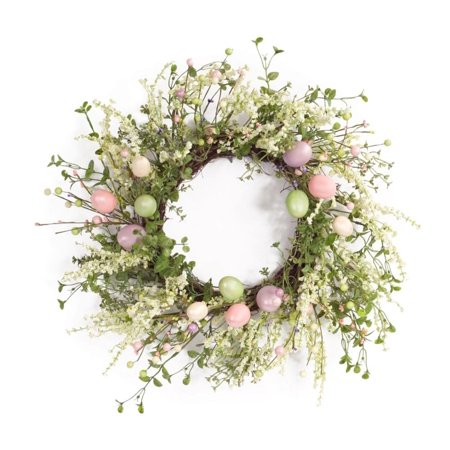 Egg Wreath (Green and Pink Easter Egg and Berry Artificial Wreath - 22-Inch,)