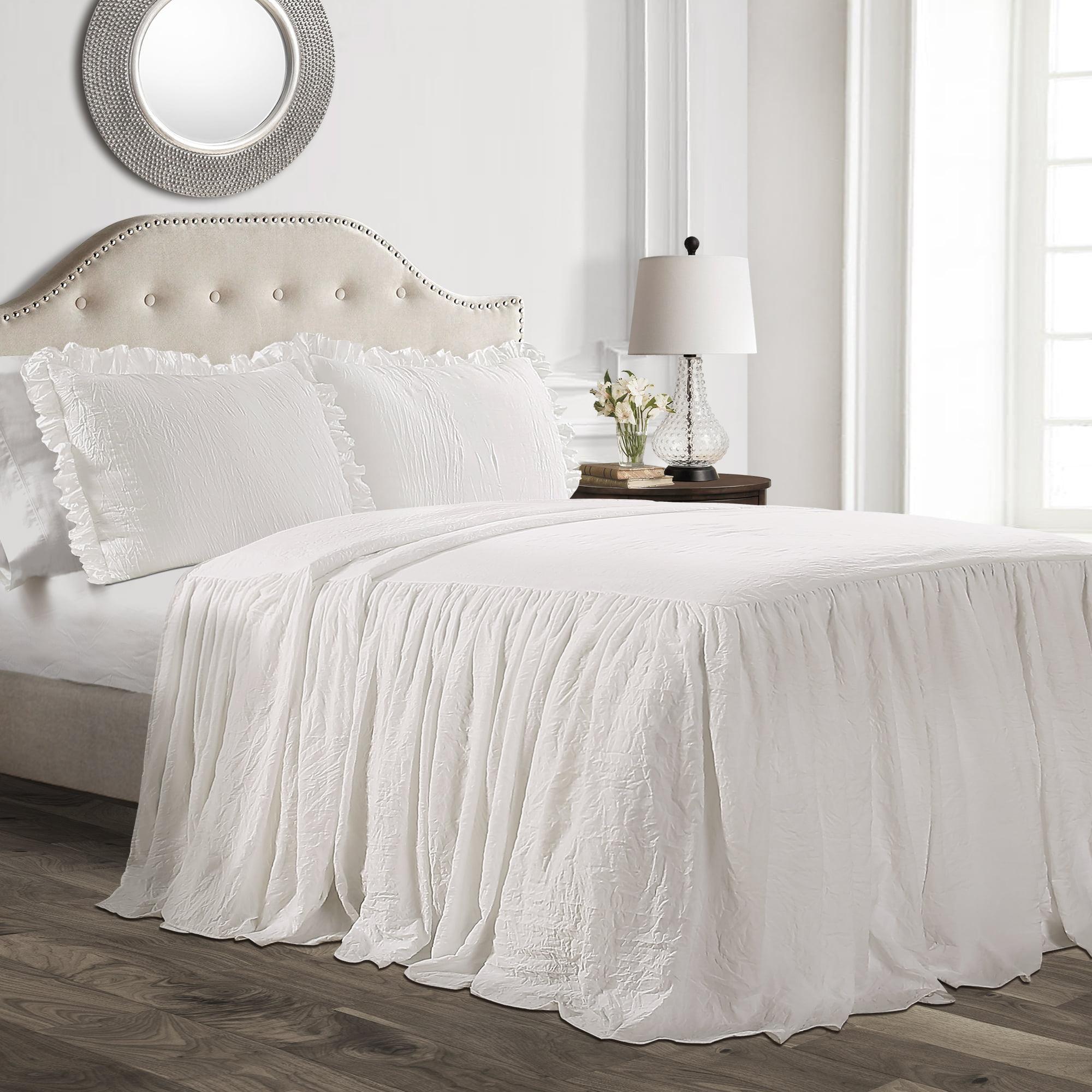 Lush Decor Ruffle Skirt 3 Piece White Bedspread Set Walmart Com Walmart Com