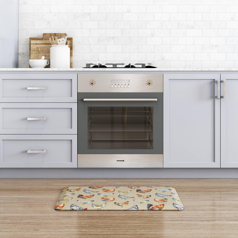 NewLife By GelPro Designer Comfort Kitchen Floor Mat 20x32 Chicken Run Warm Stone