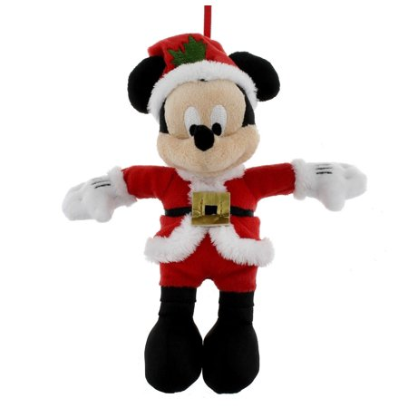 disney parks christmas ornament santa mickey mouse plush new with