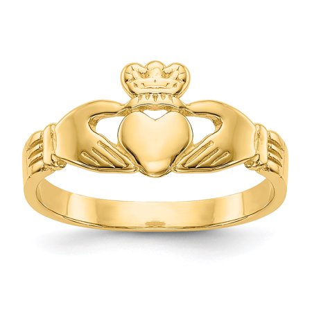 14K Yellow Gold Baby and Children Claddagh Ring, Size 3