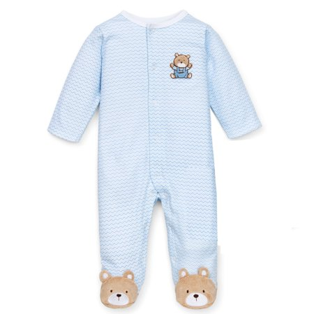 Bears Infant Sleeper - Baby Boys Chevron Bear Snap Front Footie Pajamas For Baby Boys Sleep N Play One Piece Romper Coverall Cotton Infant Footed Sleeper; Pijamas Para Bebes - Light Blue - 9 Month