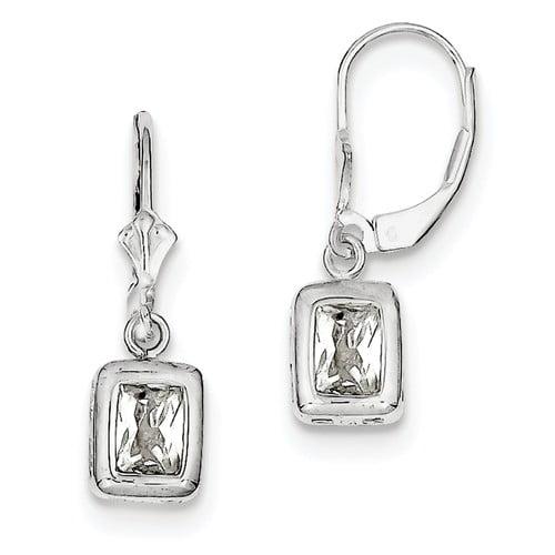 Sterling Silver 1.0IN Long 7 x 5mm Emerald Cut CZ Leverback Earrings