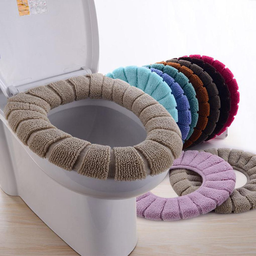 Soft Toilet Seat Cover Pad Wash Bathroom Warm Plush Toilet Seat Cushion Pad W