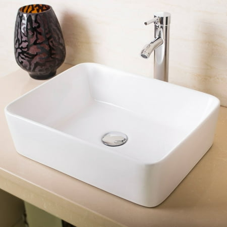 Ainfox Bathroom White Rectangle Porcelain Ceramic Vessel Vanity Sink Art Basin with Chrome Faucet and Pop up Drain Combo (White Bathroom Vessel Sink)