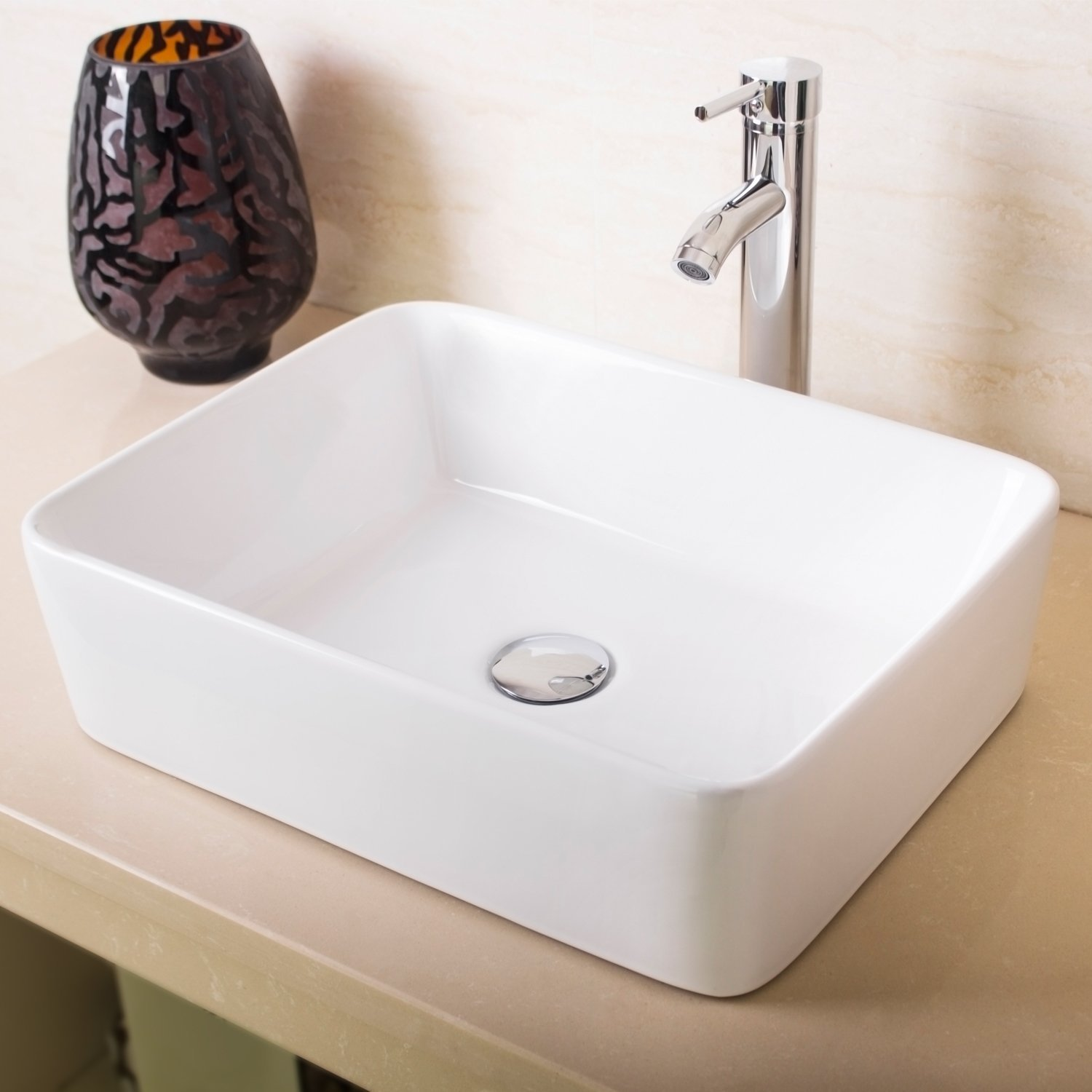 Ainfox Bathroom White Rectangle Porcelain Ceramic Vessel Vanity Sink Art Basin with Chrome Faucet and Pop up Drain Combo