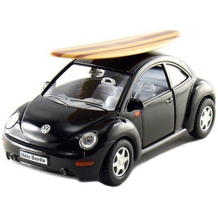 "Kinsmart 5"" Volkswagen New Beetle w/ Surfboard 1:32 Diecast Model Toy VW Black"
