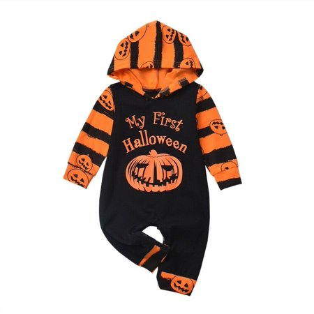 Pudcoco Baby Girl Boy Cotton Romper 2019 Autumn Newborn Baby Girl Boy Hooded Romper Striped Pumpkin First Halloween Clothes Outfit