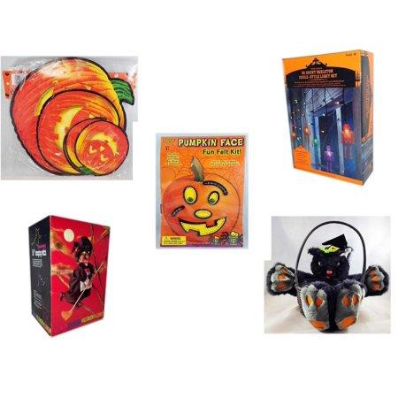 Halloween Fun Gift Bundle [5 Piece] - Classic Pumpkin Cutouts Set of 9 - 35 Count Skeleton Icicle-Style Light Set - Darice Pumpkin Face Fun Felt Kit - Stitches -  Animated 16