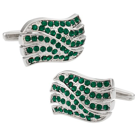 Emerald Green Crystal Wave Cufflinks with Platinum Overlay by Cuff-Daddy