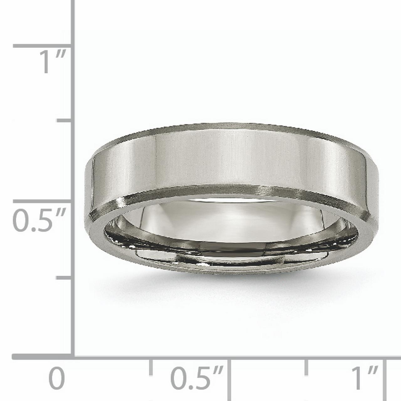 Titanium Beveled Edge 6mm Brushed Wedding Ring Band Size 8.50 Classic Flat W/edge Fashion Jewelry Gifts For Women For Her - image 5 de 6