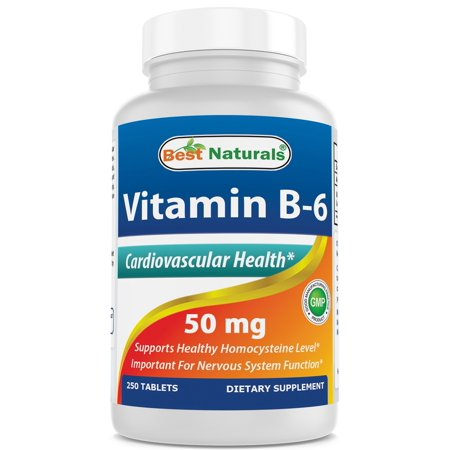 Vitamin B-6 50 mg 250 Tablets by Best Naturals -- Supports Casrdiovascular Health -- Manufactured in a USA Based GMP (Best B 50 Complex Vitamin)