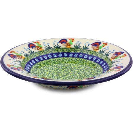 Polish Pottery 9¼-inch Pasta Bowl (Country Rooster Theme) Signature UNIKAT Hand Painted in Boleslawiec, Poland + Certificate of (Polished Rooster)