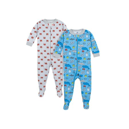Gerber Footed tight-fit unionsuit pajamas, 2pk (baby boys)