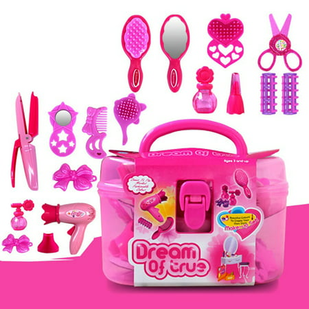 Kids Beauty Salon Set Toys 17pcs-Little Girl Makeup Kit Pretend Play Hair Station with Case, Hairdryer, Brush,Mirror & Styling -