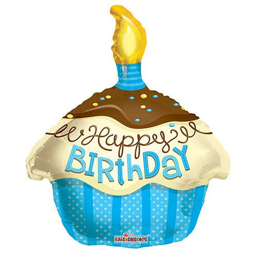 "18"" Happy Birthday Cupcake Theme Blue Foil / Mylar Balloons ( 6 Balloons )"