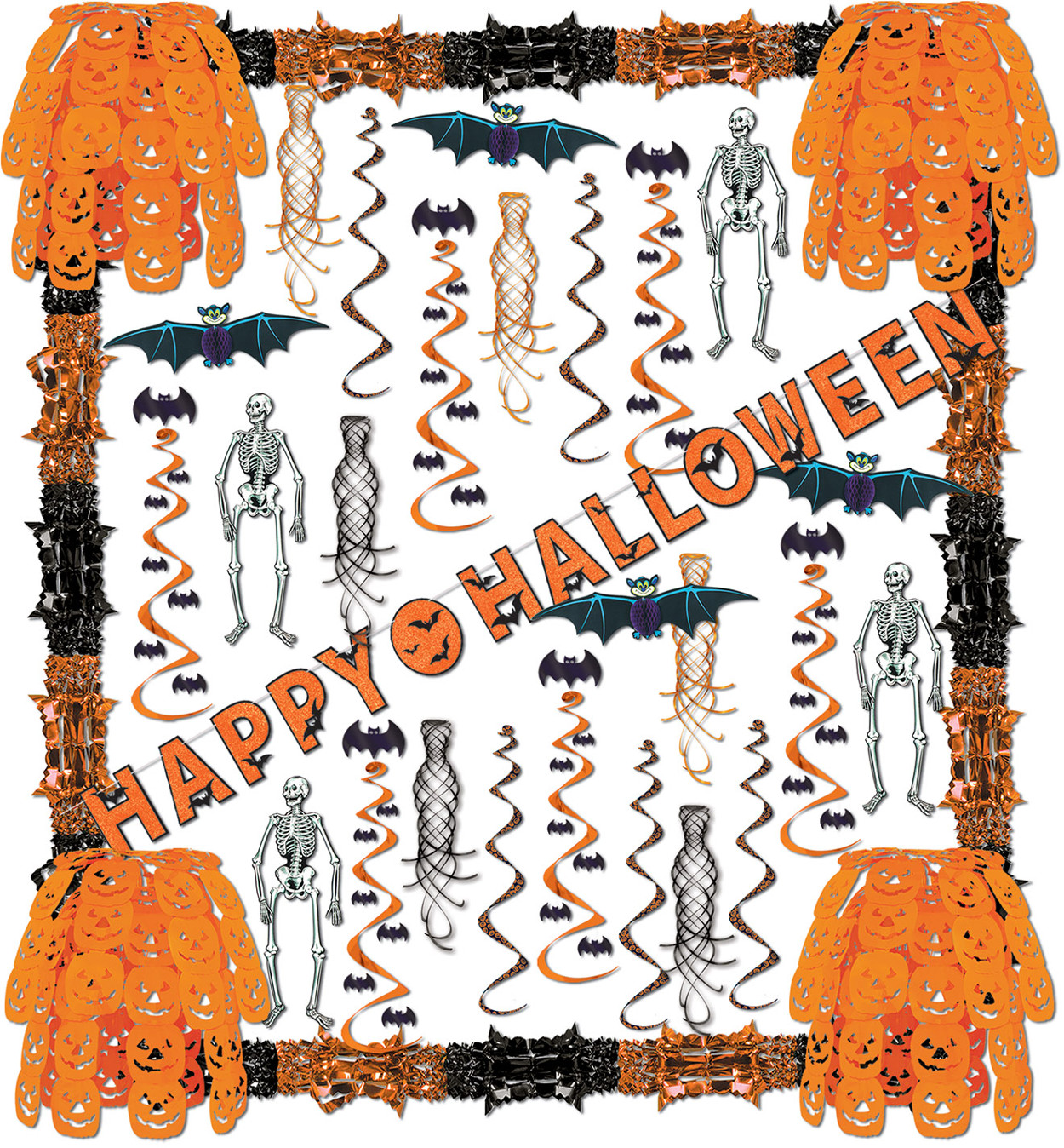34 Piece Happy Halloween Skeletons Bats Pumpkins Streamers Decorations Kit