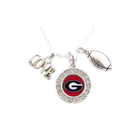 Georgia Bulldogs Football Multi Charm And Red Charm Necklace Jewelry UGA.