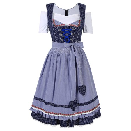 Women's German Dirndl Dress 3 Pieces Oktoberfest Costumes 34