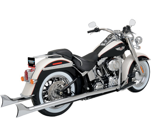 Python Fishtail Dual Exhaust Chrome Fits 12-14 Harley-Davidson FLSTN Softail Deluxe