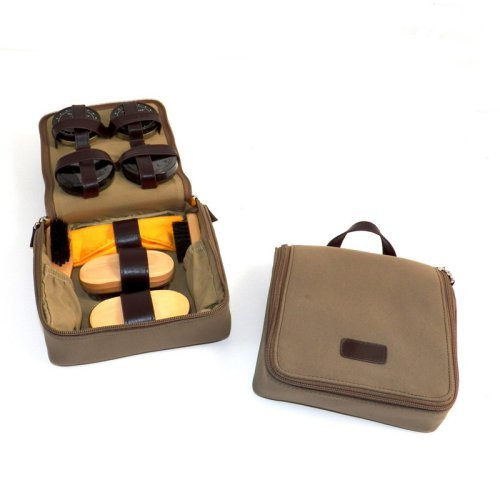 Bey-Berk International Shoe Shine Kit in Ultra Suede/Leather Case