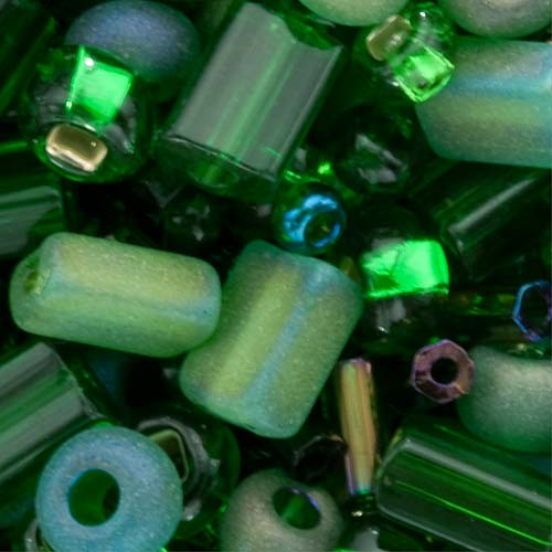 Czech Seed Bead Mix Variety Shapes Green (2 Ounce)